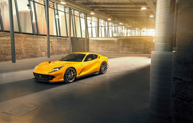 Photo wallpaper machine, lights, hangar, Ferrari, drives, sports, Superfast, 812, by Novitec