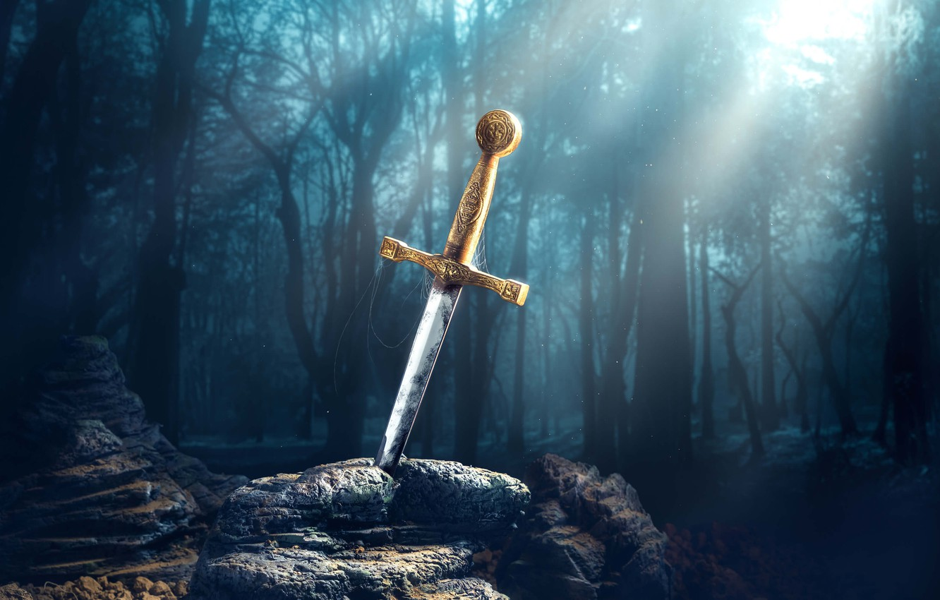 Photo wallpaper nature, stone, sword, Excalibur, the sword in the stone