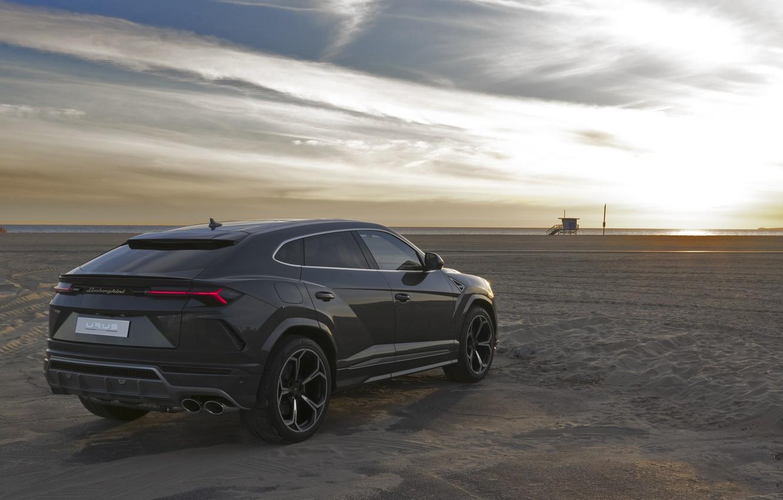 Photo wallpaper beach, sunset, Lamborghini, 2018, crossover, Urus