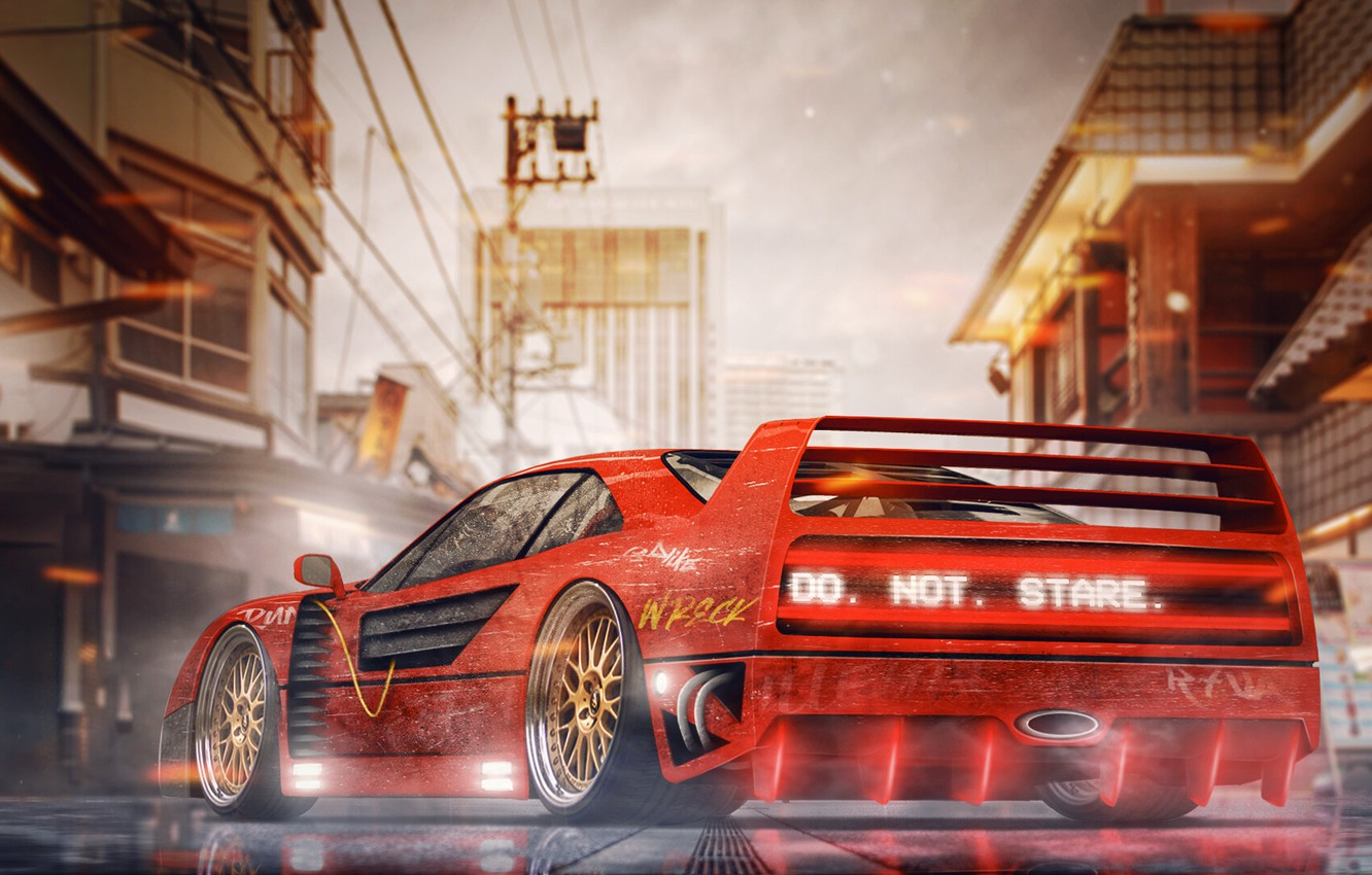 Wallpaper Auto Machine Style City Ferrari Tokyo Japan Red Art Neon Concept Art Science Fiction Cyberpunk Synthwave New Retro Wave Ferrari F 40 Images For Desktop Section Rendering Download