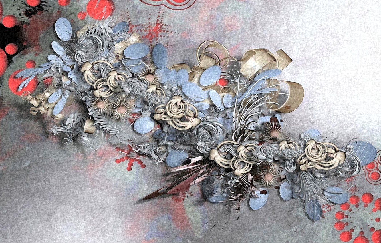 Photo wallpaper abstraction, background, fantasy, curls, Wallpaper, figure, picture, render, rings, ovals