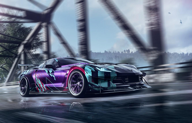Photo wallpaper Auto, Corvette, Chevrolet, Machine, Tuning, NFS, Need for Speed, Game, Heat, Sports car, Chevrolet Corvette …