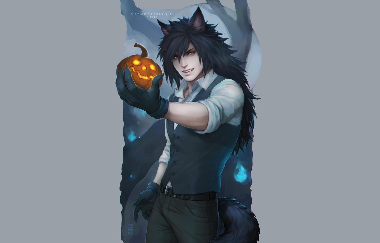 Photo wallpaper wolf, pumpkin, Halloween, Naruto, Madara Uchiha, Naruro, by zetsuai89, Ren Miyashida