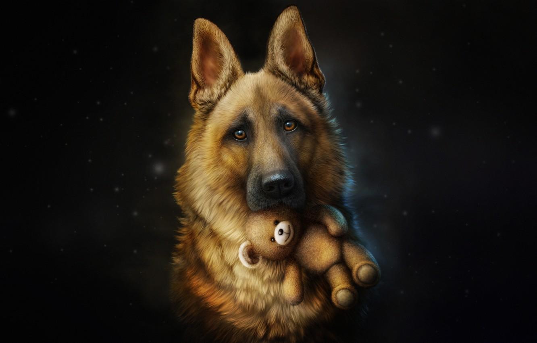 Photo wallpaper Dog, Toy, Style, Shepherd, Dog, Fallout, Art, Art, Style, Illustration, Each, Animal, Animal, Toy, Friend, …