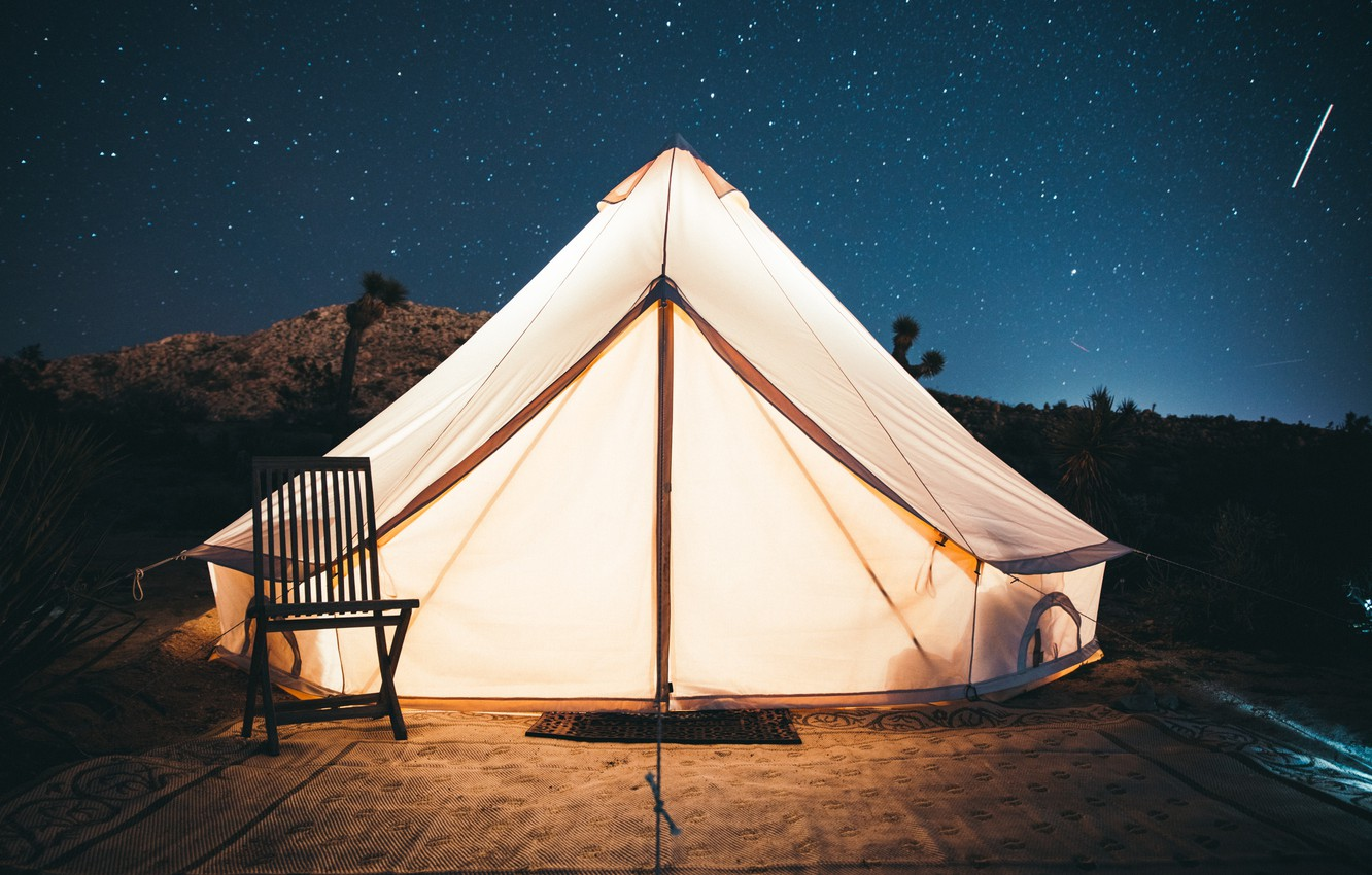 Photo wallpaper the sky, stars, light, chair, tent, kal loftus