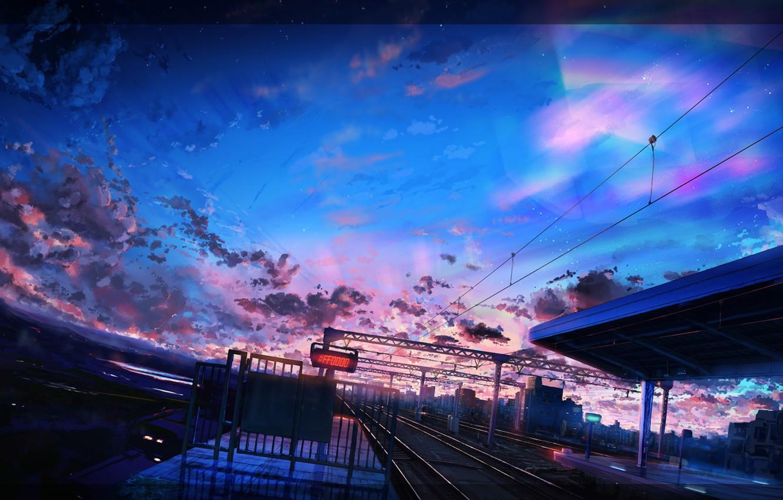 Photo wallpaper the city, trains, twilight, railway station