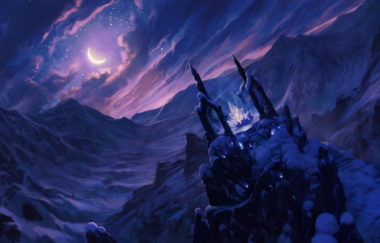 Photo wallpaper cold, the sky, crystal, clouds, snow, mountains, night, the moon, fantasy, art