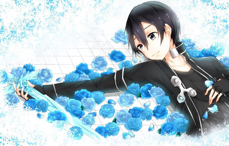 Photo wallpaper look, anime, art, White background, guy, Sword art online, Sword Art Online, Kirito
