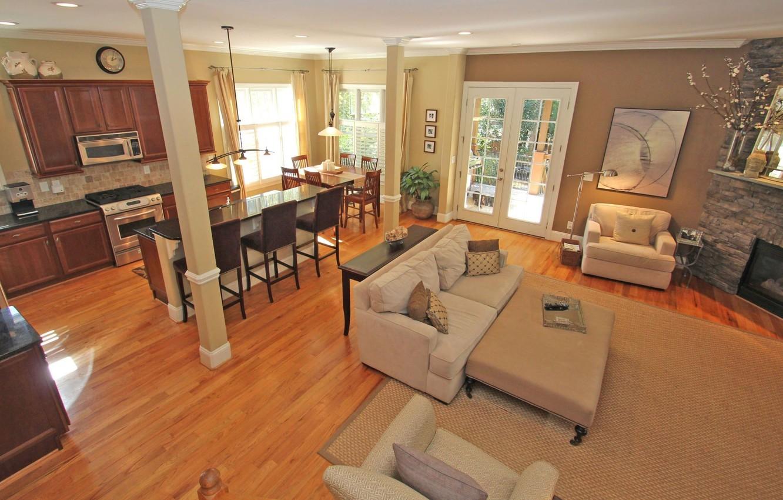 Wallpaper interior, kitchen, living room, dining room, open floor ...