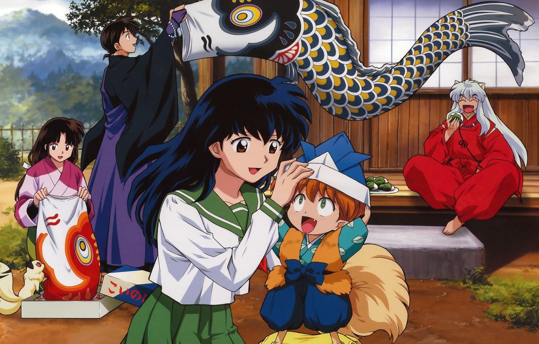 Photo wallpaper holiday, Japan, schoolgirl, veranda, art, sailor, Kirara, red suit, Inuyasha, Inuyasha, Rumiko Takahata, the house, ...