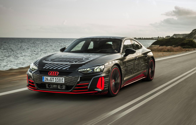 Photo wallpaper road, movement, Audi, coupe, 2020, RS e-Tron GT Prototype