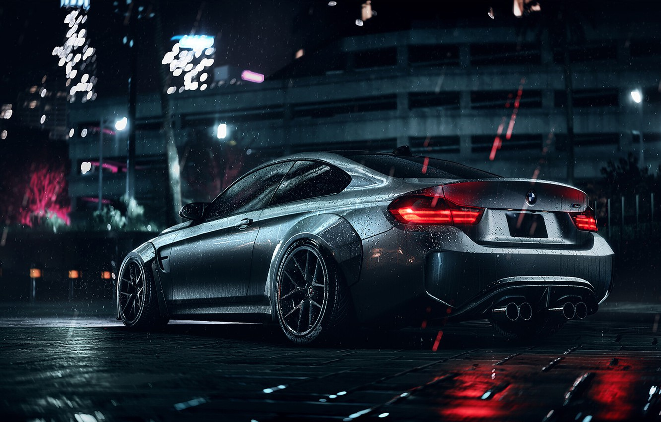Photo wallpaper BMW, Dark, Night, Rear, M4