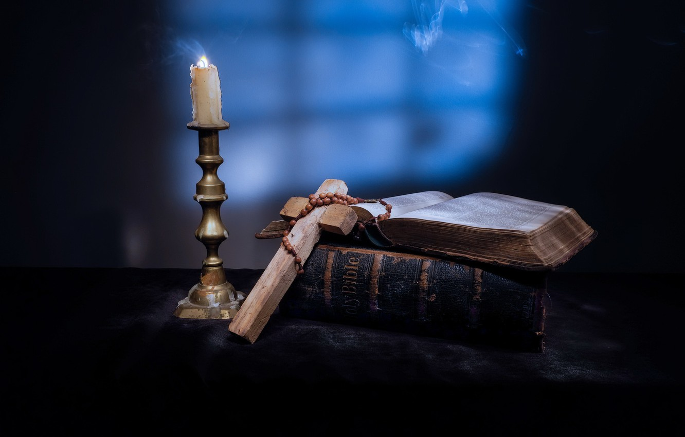 Photo wallpaper candle, cross, book, the Bible
