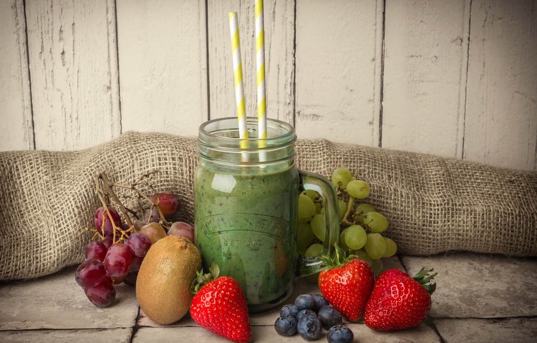 Photo wallpaper berries, kiwi, strawberry, grapes, mug, drink, burlap, tube, blueberries, smoothies