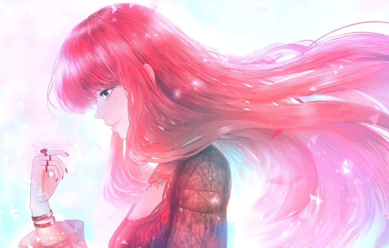 Photo wallpaper girl, ring, red hair