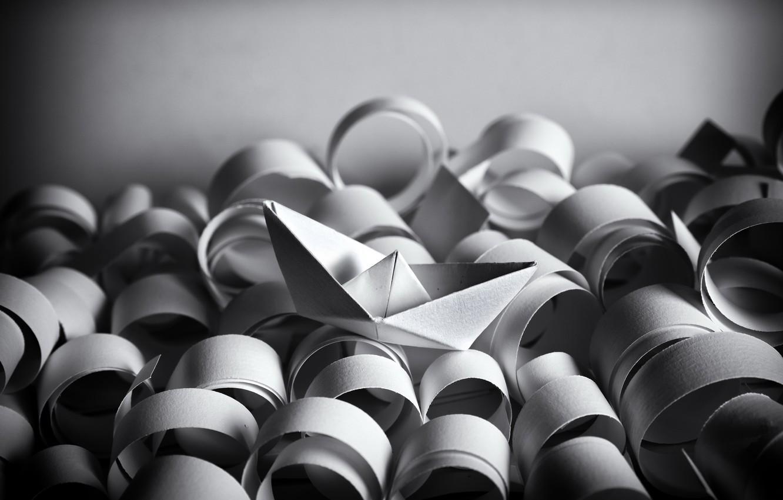 Photo wallpaper sea, paper, boat, origami