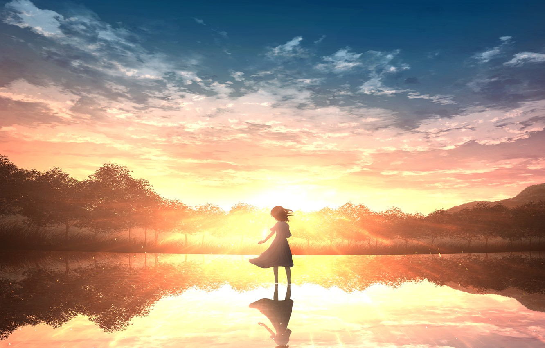 Photo wallpaper water, sunset, nature, girl
