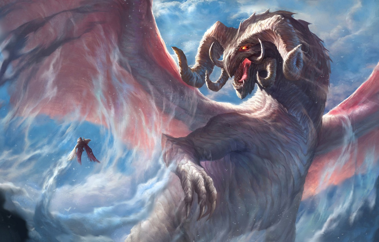 Photo wallpaper look, dragon, wings, power, fantasy, art, horns
