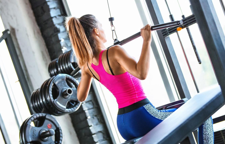 Photo wallpaper female, workout, gym
