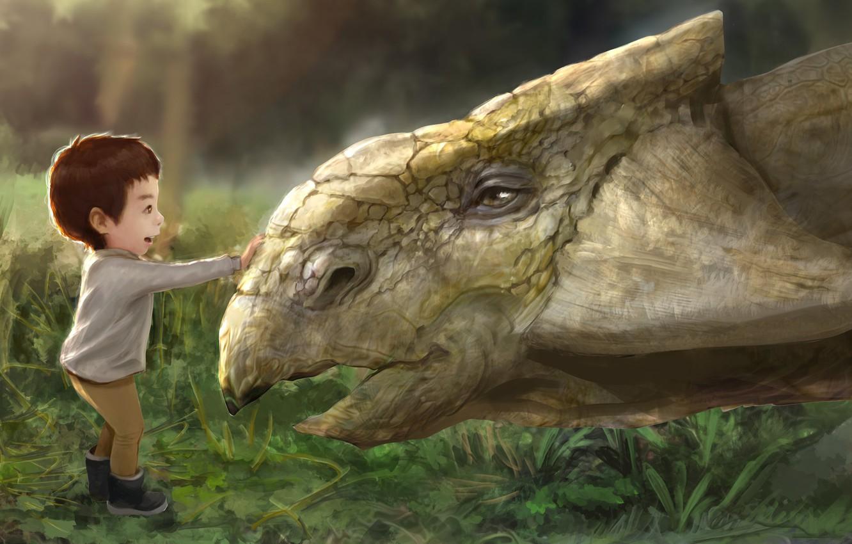 Photo wallpaper baby, art, children's, My son meet the ankylosaurus., Rugby, Hotduck Yoon