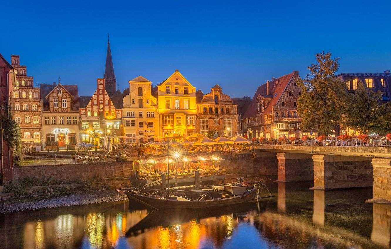 Photo wallpaper bridge, river, boat, building, home, Germany, cafe, promenade, Germany, Luneburg, Lüneburg, The River Ilmenau, Ilmenau …