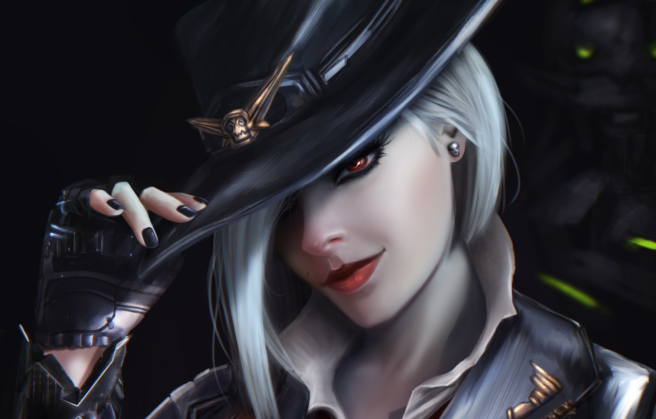 Photo wallpaper look, girl, face, hair, hat, art, glove, ashe, overwatch, Calamity, Elizabeth Caledonia Ashe