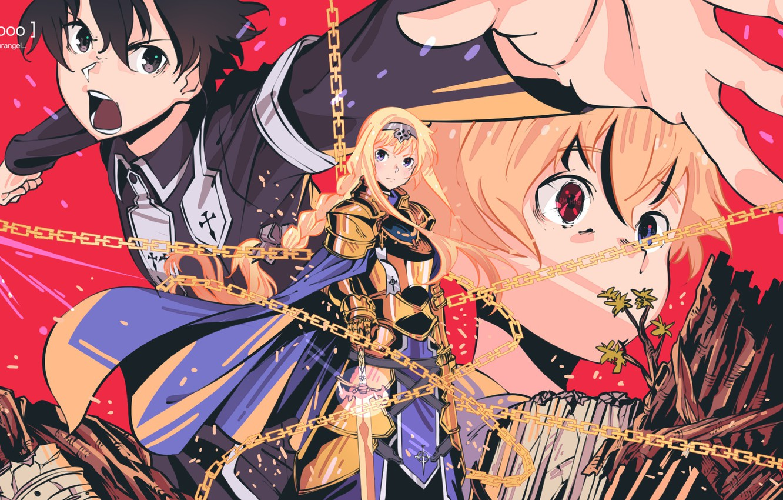 Photo wallpaper girl, Sword art online, Sword Art Online, Kirito