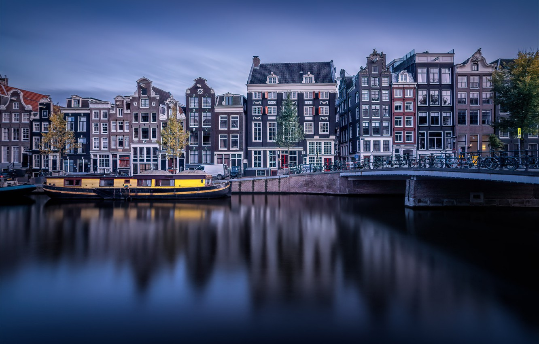 Photo wallpaper bridge, building, home, Amsterdam, channel, Netherlands, Amsterdam, Netherlands, Singel Canal, The Singel Canal