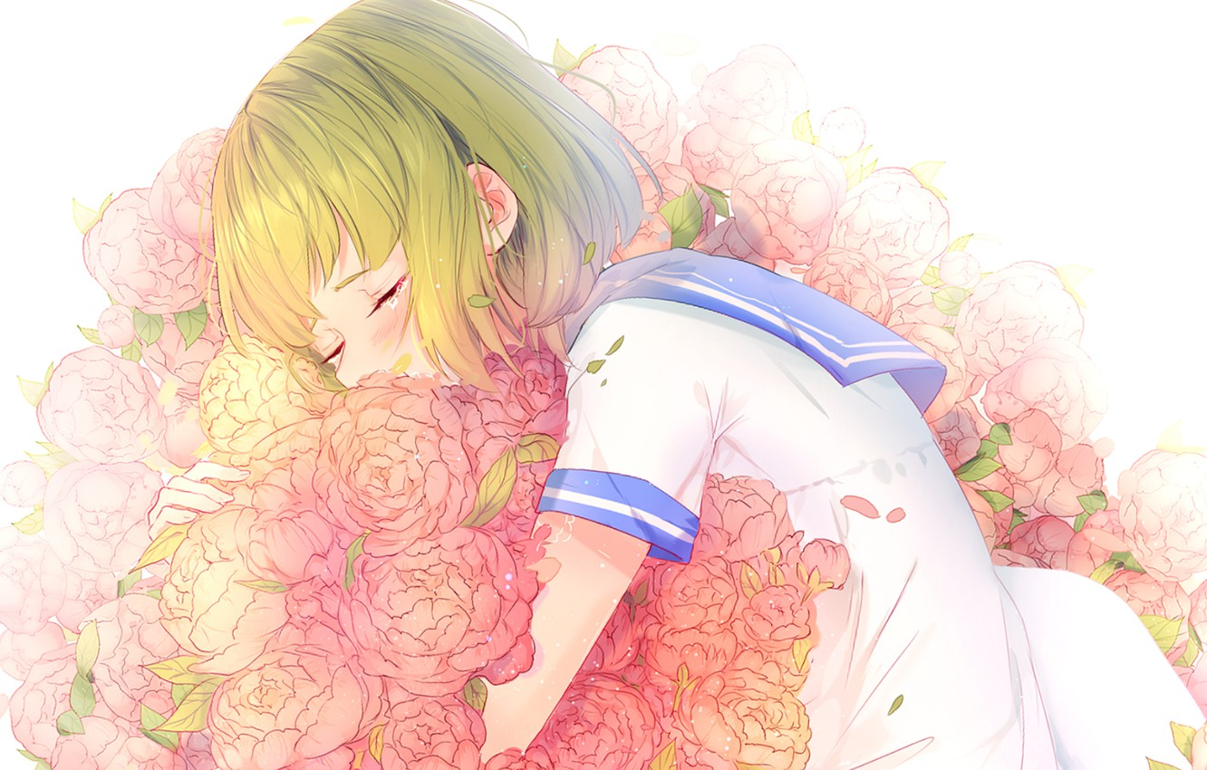 Photo wallpaper girl, sleeping, school uniform, peonies, by lluluchwan