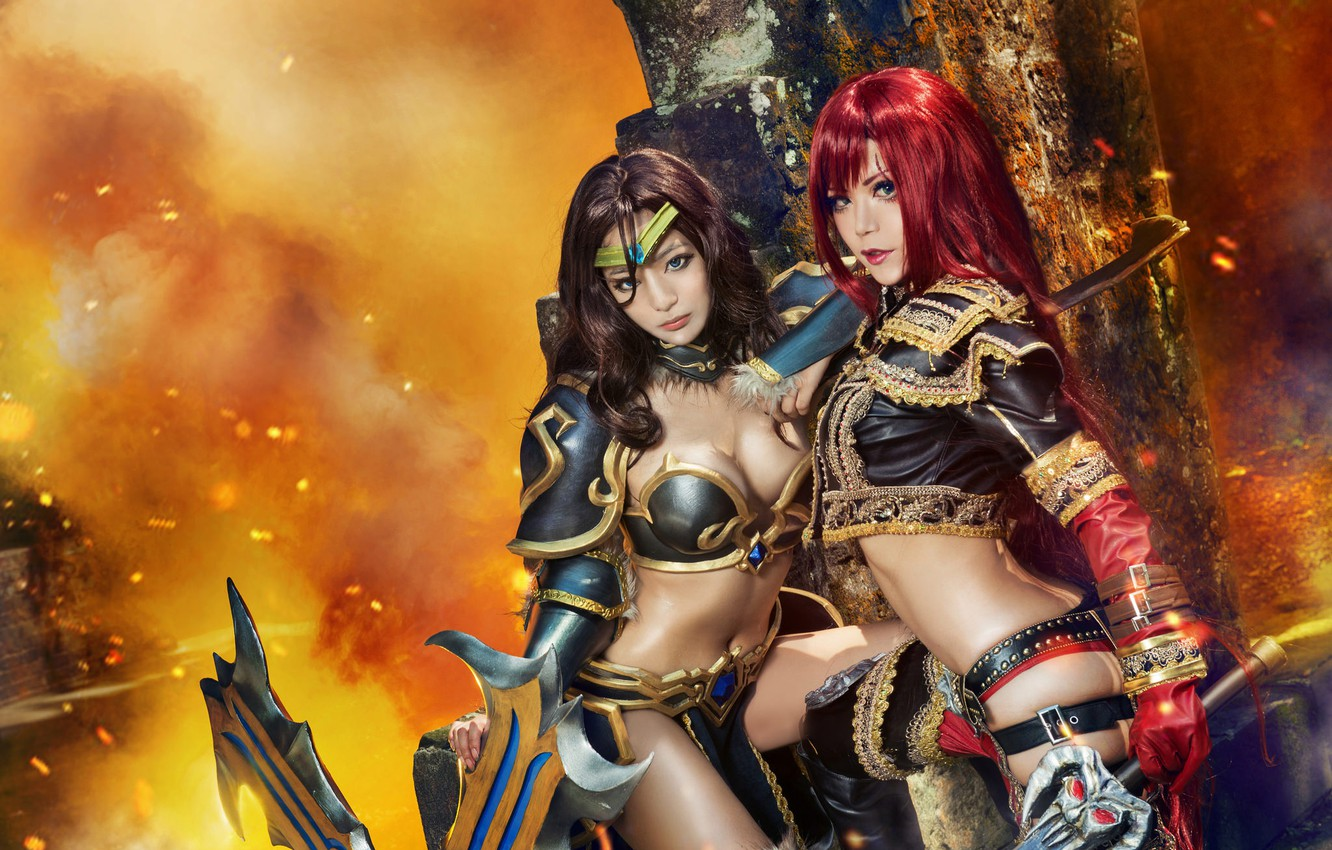 Photo wallpaper chest, look, girl, face, style, the dark background, weapons, background, girls, fire, fire, smoke, body, ...