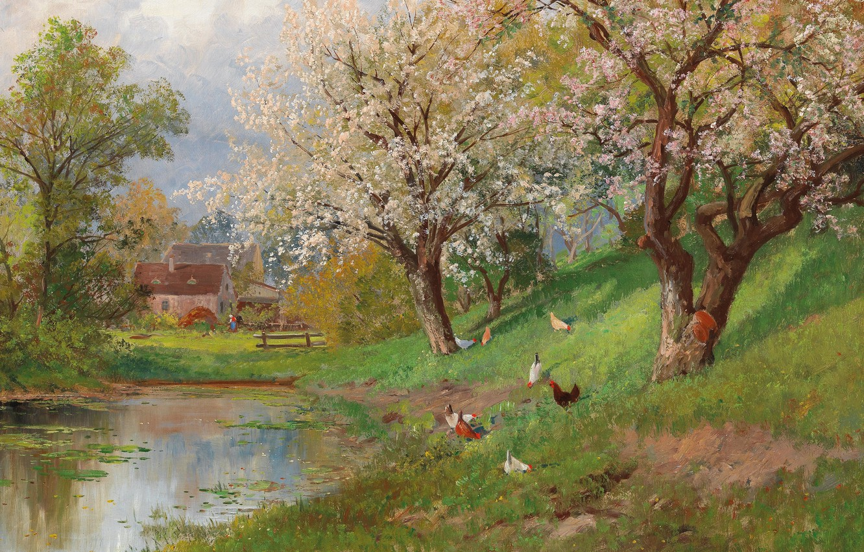 Photo wallpaper Alois Arnegger, Austrian painter, Austrian painter, oil on canvas, Alois Arnegger, Spring in the Country, …
