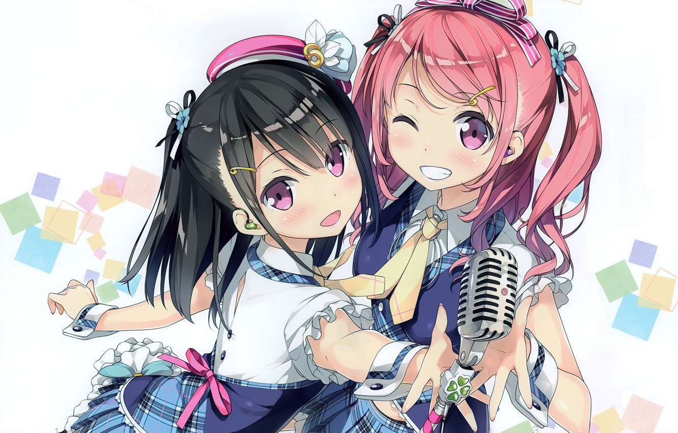 Photo wallpaper smile, tie, microphone, fun, wink, ruffles, pink hair, two tails, two girls, by Kantoku