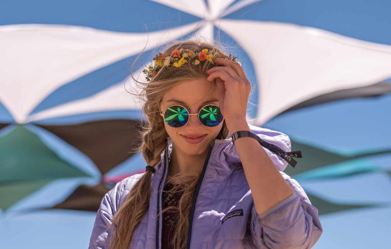 Photo wallpaper smile, reflection, background, clothing, hair, Girl, glasses, braids, smile