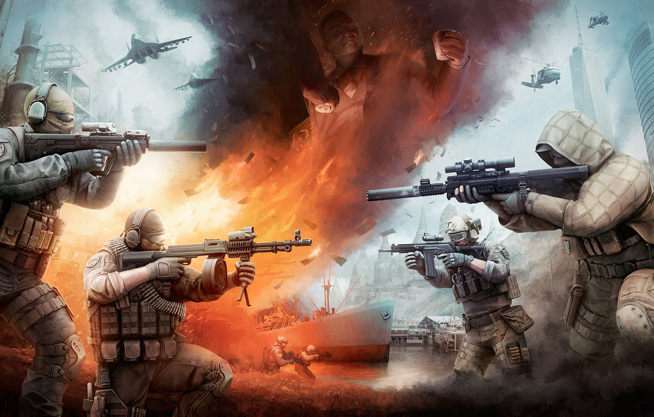 Photo wallpaper Fire, Ship, Soldiers, Weapons, Art, Sniper, Scout, Destroyer, Attack, Mercenaries, Helicopters, Aircraft, BEAR, USEC, hops, …