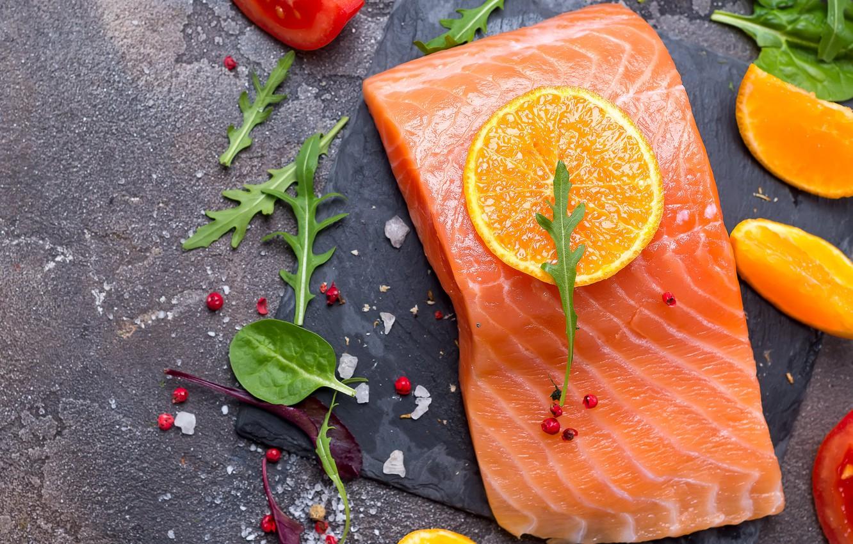 Photo wallpaper lemon, spices, salmon, arugula