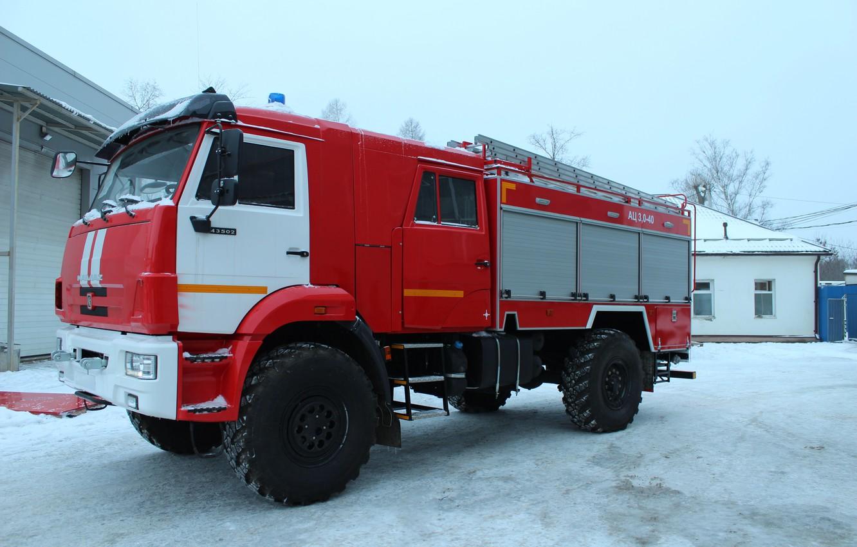Photo wallpaper winter, the sky, snow, cabin, wheel, fire truck, big car, Камаз-43502, АЦ-3-40, АЦ-3-40 КАМАЗ-43502