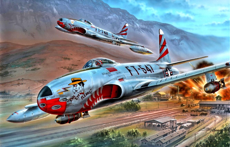 Photo wallpaper USAF, jet fighter, The Korean war 1950-1953, Shooting Star, bombs, F-80C