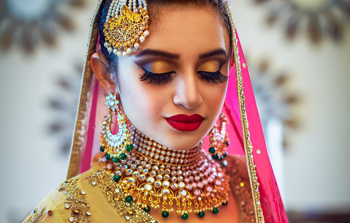 Photo wallpaper girl, fashion, eyes, smile, beautiful, model, pretty, lips, face, hair, pose, indian, makeup, ear rings, …