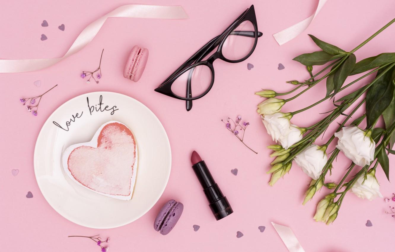 Photo wallpaper background, pink, bouquet, glasses, cake, eustoma, Romantic
