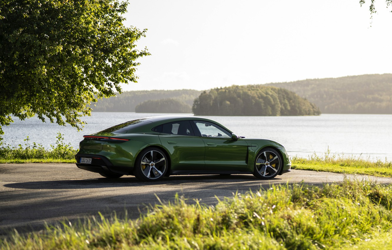 Photo wallpaper grass, Porsche, Parking, Turbo S, 2020, the shore, Taycan