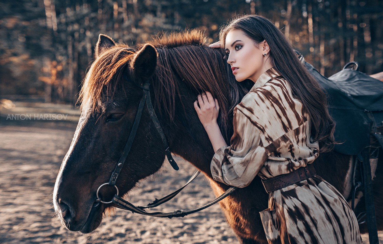 Photo wallpaper girl, pose, horse, horse, Maria, Anton Kharisov