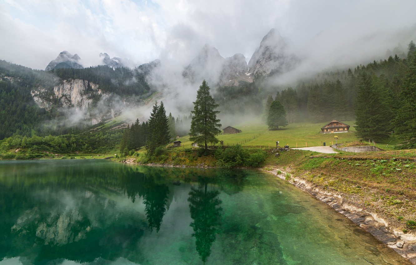 Photo wallpaper clouds, landscape, mountains, nature, fog, lake, Austria, forest, Gosausee