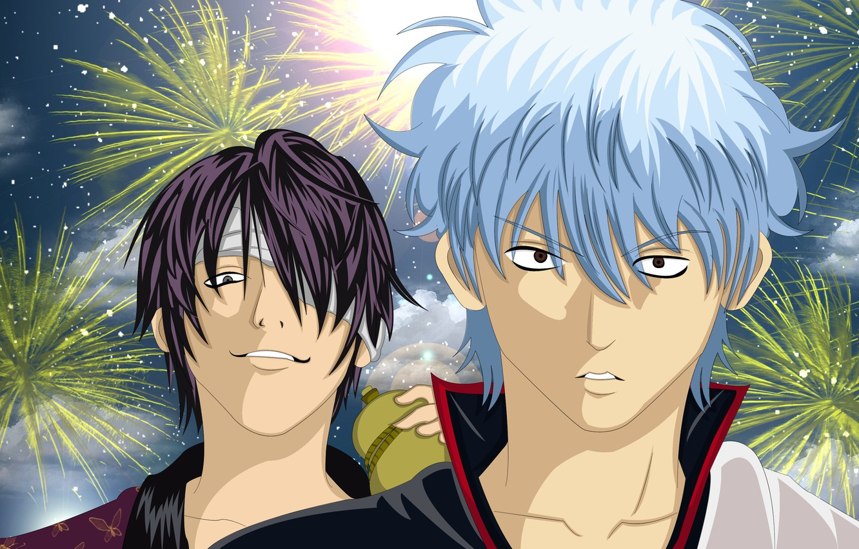 Photo wallpaper guys, fireworks, Gintama, Gintama