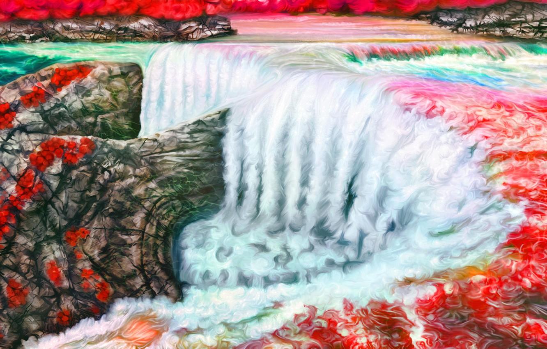 Photo wallpaper landscape, art, Nina Vels, vodopad, Ruby waterfall