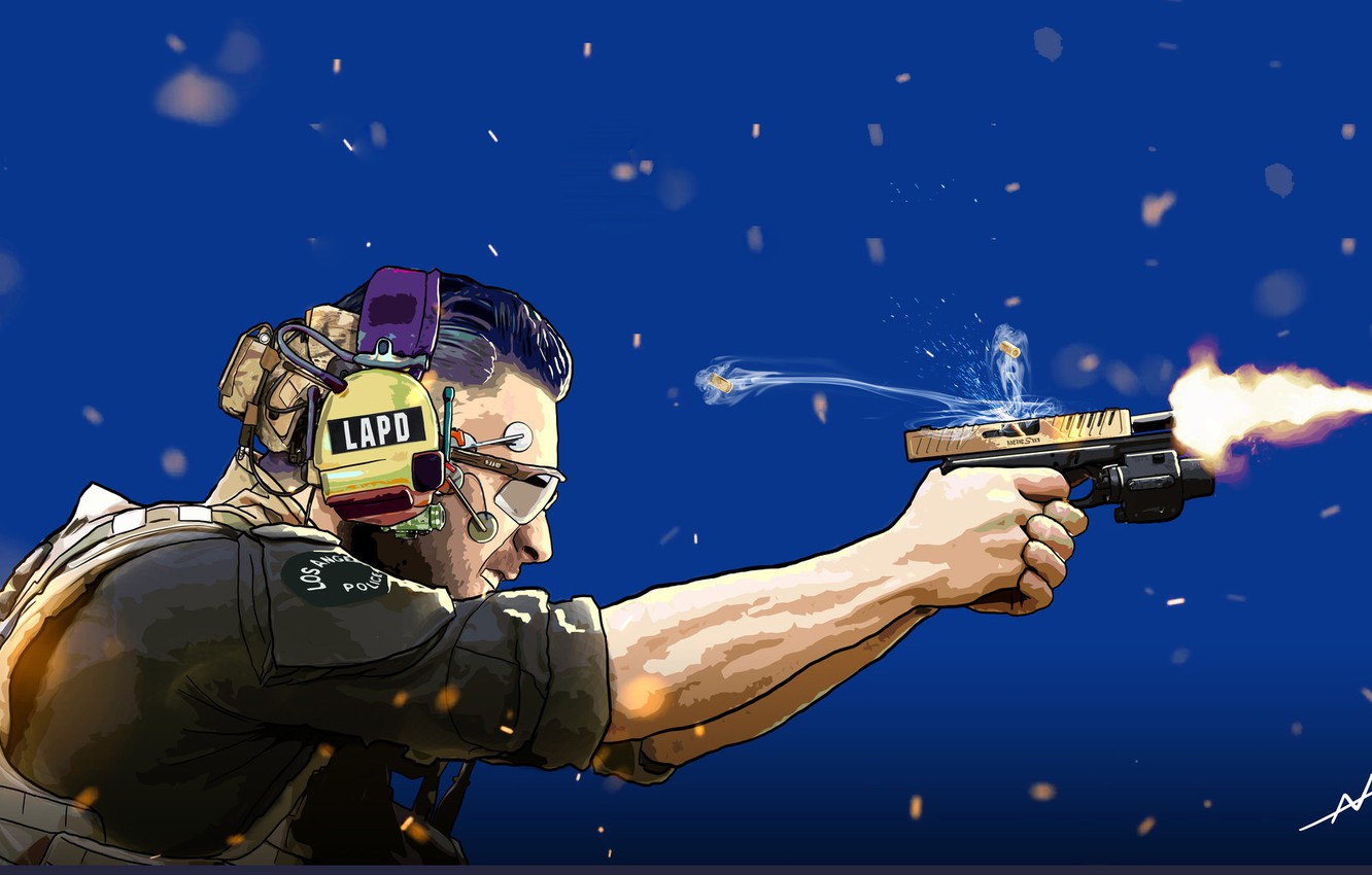 Photo wallpaper Gun, Art, Shot, COP, Cyberpunk, Officer, The LAPD, Officer Perry, Andrea Abrile, by Andrea Abrile