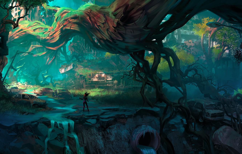 Wallpaper City Fantasy Cars Trees Science Fiction