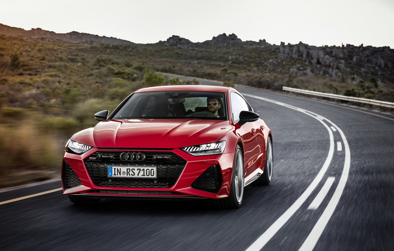 Photo wallpaper road, car, machine, mountains, Audi, speed, red, front, red car, rides, red car, Audi RS7, …