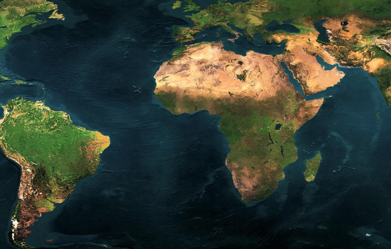 Photo wallpaper world map, dual monitor, continents, the ocean, 3840 x 1080