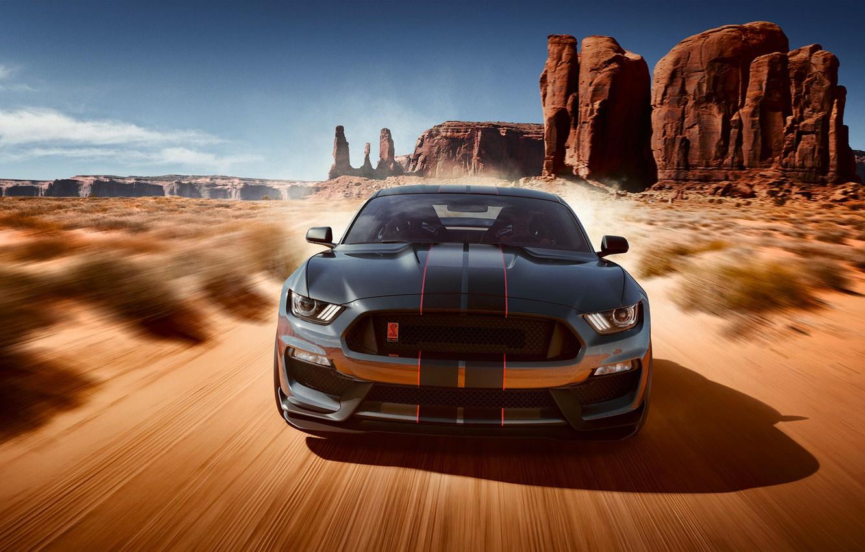 Photo wallpaper Mustang, Ford, Shelby, Auto, Desert, Machine, GT350, Desert