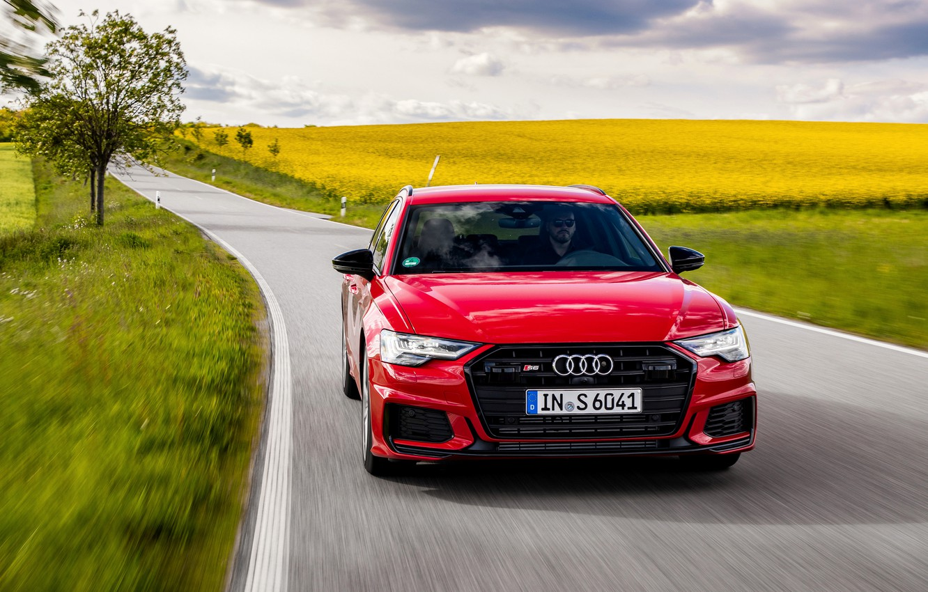 Photo wallpaper road, red, Audi, field, plants, universal, 2019, A6 Avant, S6 Before